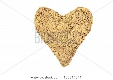 valentine golden heart isolated on the white background