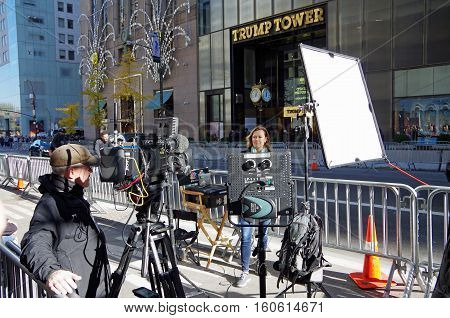 New York, New York-November Nineteenth: News crew set up for live broadcast across from Trump Tower. November 19th 2016 at 5th Avenue between East 56th and East 57th Street, NYC