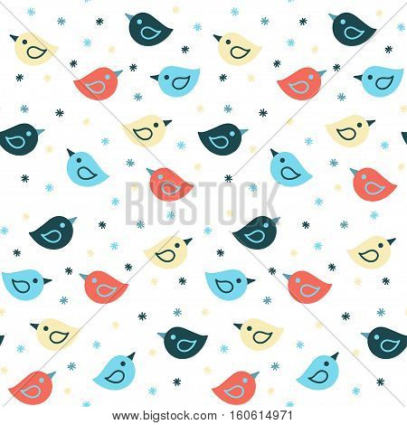 Seamless pattern with colorful funny birds. Vector background. Suitable for packaging wrapping paper wallpaper.