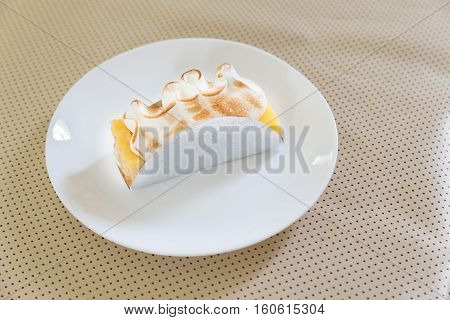 Piece Of Biscuit Layered Cake With Cream Cheese And Lemon Curd