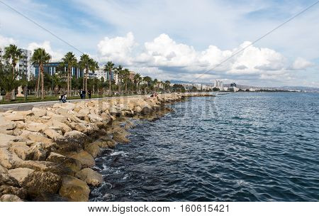 Limassol Cyprus - December 4 2016: Coastline of the city of Limassol in Cyprus on a cloudy day.