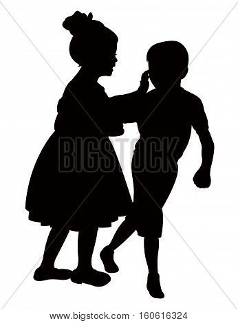 friends talking to each other and playing, silhouette vector