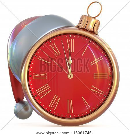 Christmas ball clock New Year's Eve last hour midnight countdown time Santa hat decoration ornament red gold adornment. 3d illustration
