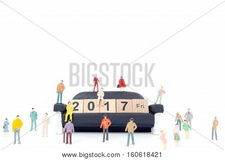 New year concept , Crowd of people with Wooden block Word 2017  on white background