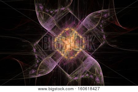 illustration of abstract flower yellow lilac square and incomprehensible patterns around on a black background