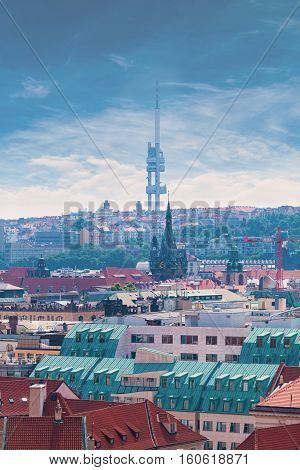 Panorama of the city from the Clock Tower in Prague. A view of the TV tower. Aerial view
