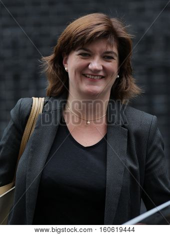 LONDON, UK, SEP 15, 2015: Nicky Morgan MP Secretary of State for Education and Minister for Women and Equalities seen attending the cabinet meeting in Downing Street London