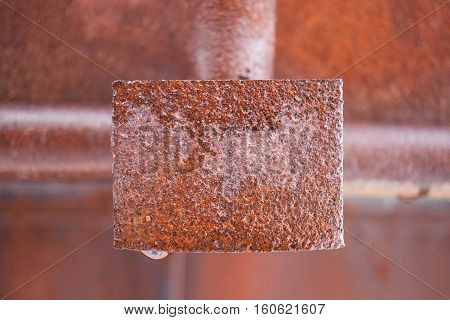 Wet rusty metal rectangular plate in middle of frame. Background blurred.