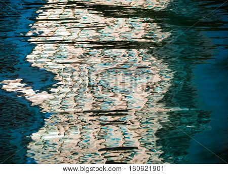 Abstract colorful blur de focused background blue, Background of rippled water in lagoon, Photo technique image