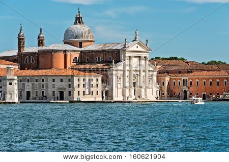 Venice Italy - June 13 2016: The Church of the Most Holy Redeemer is a 16th-century Roman Catholic church located on Giudecca Island in the city of Venice Italy. It was built to thank God for deliverance from the plague.