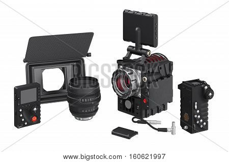 Camera video television optical equipment. 3D rendering