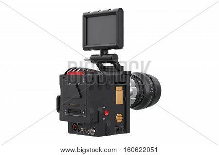 Camera video black optical cinema equipment. 3D rendering