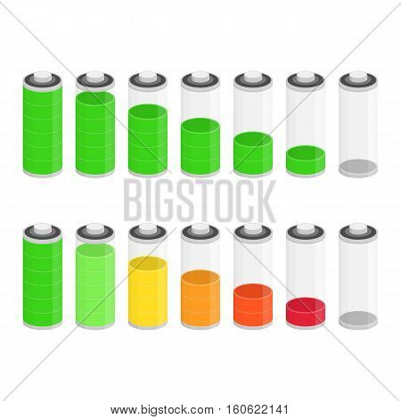 Battery charge status vector icon isolated on white background. Ten different Status of Charge. Bright design can be used to interface mobile application.