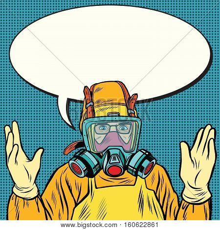 Scientist chemist in protective suit, lab. Pop art retro vector illustration