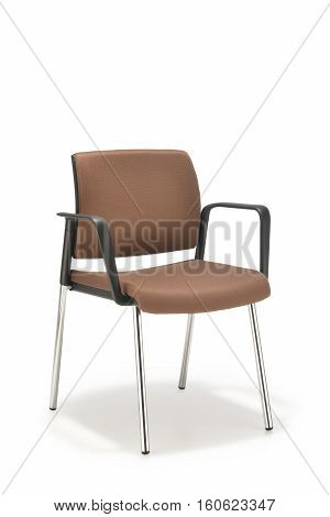 Office chair in brown fabric with armrests isolated on white background