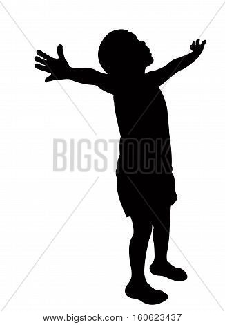 a girl looking up , opened arm, silhouette vector