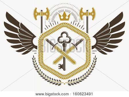 Heraldic Sign Made Using Vector Vintage Elements, Bird Wings And Hatchets