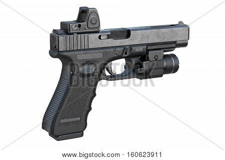 Gun weapon handgun with modern scope. 3D rendering