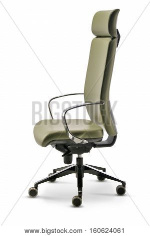 Office executive chair in green leather side view