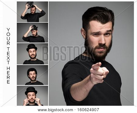 Young Man With Beard And Mustaches, Finger Pointing Towards The Camera