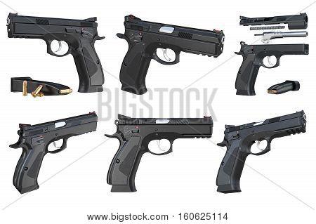 Gun weapon black modern pistol with magazine set. 3D rendering