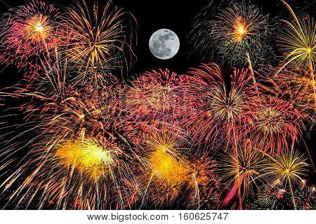 Set Of Fireworks On Black Background With Super Moon