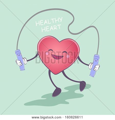 Healthy heart. Healthy lifestyle. Pretty heart is jumping rope. Vector illustration. Emergency cardiology cartoon strong and funny characters diseased heart.