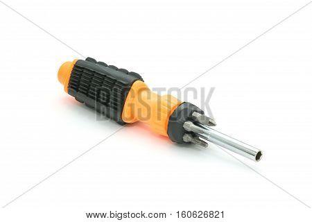Isolated Black And Orange Screwdriver Set On White Background