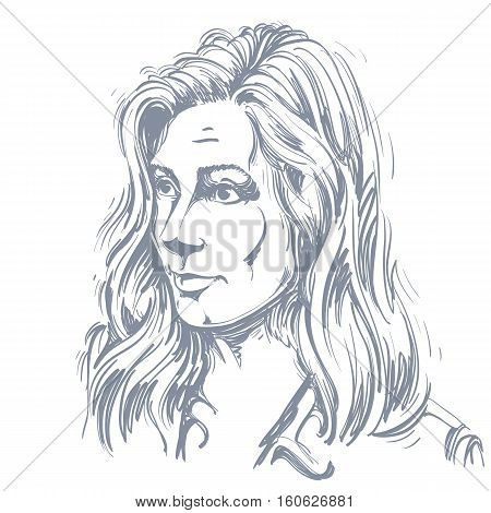 Portrait Of Delicate Doubting Woman With Wrinkles On Her Forehead, Black And White Vector Drawing. E