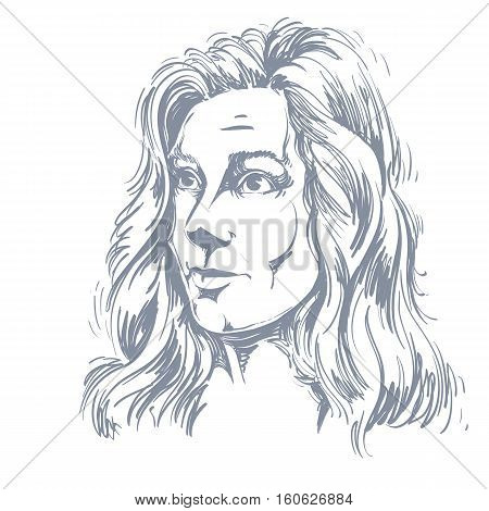 Graphic Vector Hand-drawn Illustration Of White Skin Attractive Naive Lady Feel Sorry About Somethin