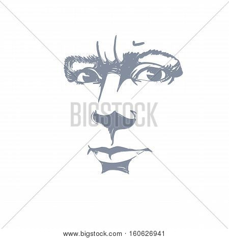 Vector Portrait Of Irate Woman, Illustration Of Good-looking But Angry Female. Person Emotional Face