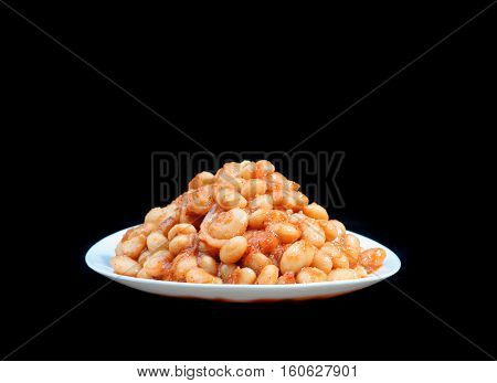 White bean salad. Isolated on black background