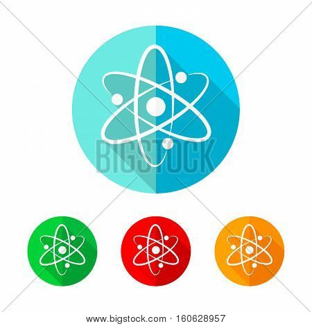 Set of colored atom icons. White atom sign with long shadow. Vector illustration. Atom icon on a the round button.