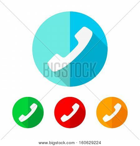 Set of colored handset icons. White handset with long shadow. Vector illustration. Handset icon on a the round button.