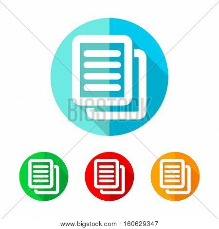Set of colored document icons. White document with long shadow. Vector illustration. Document icon on a the round button.