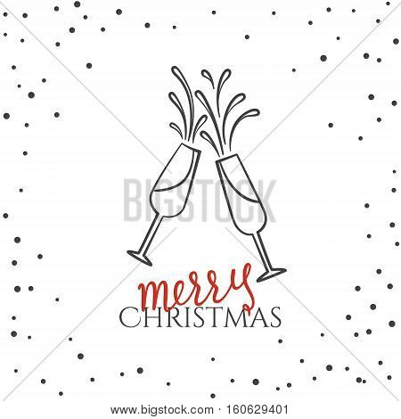 Merry Christmas Text Background With Glasses Of Champagne. Greeting Card With Calligraphy. Hand Draw