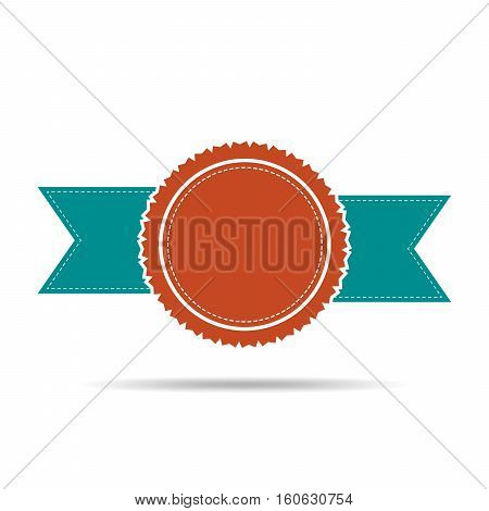 Simple medal icon with ribbon. Colored medal with shadow in flat design. Silhouette of trophy awards or medal. Vector illustration.