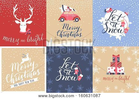 Set of 6 Christmas and New Year Calligraphy: Merry and Bright Merry Christmas Let it Snow. Good for design cards or posters. Vector hand drawn lettering. Seasonal holiday decoration.