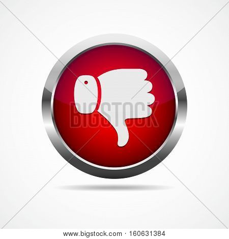 Red button with thumb down icon. White thumb down on red button. Vector illustration. I dislike concept.