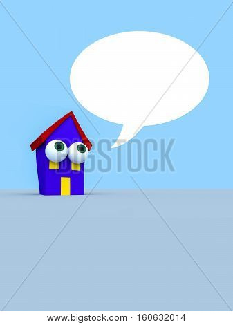 Cartoon House With Big Eyes And A Blank Speech Bubble 3d illustration