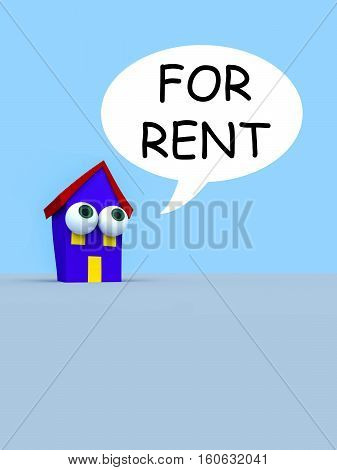 Cartoon House With Big Eyes And A Speech Bubble For Rent 3d illustration