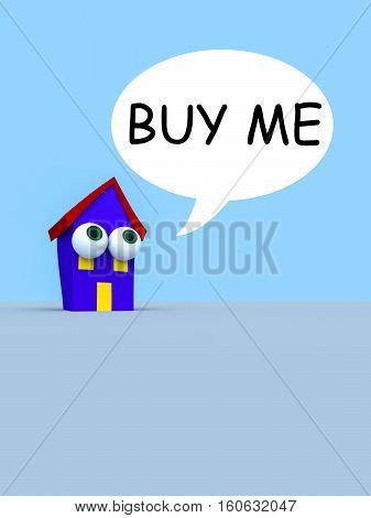Cartoon House With Big Eyes And A Speech Bubble Buy Me 3d illustration