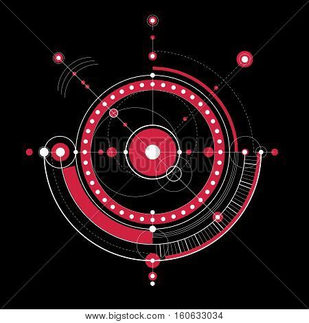 Mechanical scheme red vector engineering drawing with circles and geometric parts of mechanism.