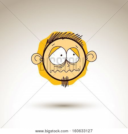 Vector artistic colorful drawing of depressed person face communication and social network design element isolated on white. Allegory illustration emotions and human temperament conceptual image.