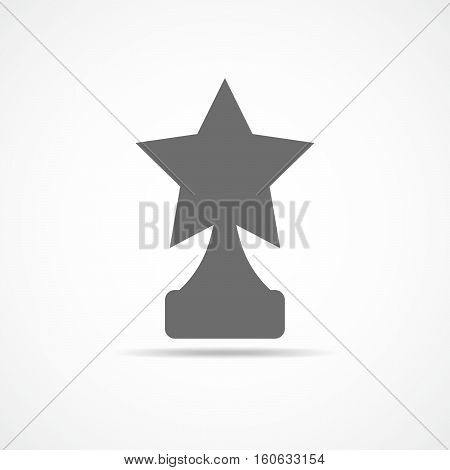 Star award on trophy. Gray reward icon isolated on light background. Star reward in flat design. Vector illustration. Concept of success or victory.