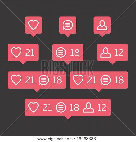Social network icons pack on black background. Like, comment, follow. Notification Tooltip with heart, user, speech bubble, counter