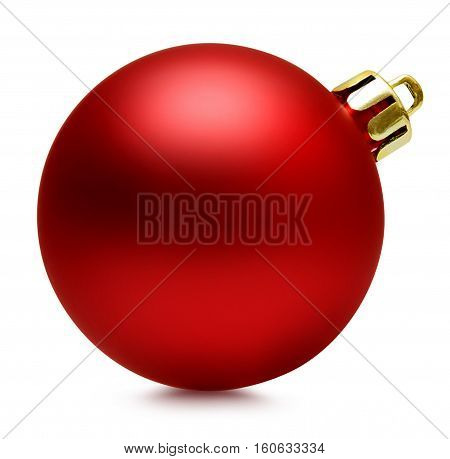 Red christmas ball isolated over white with path