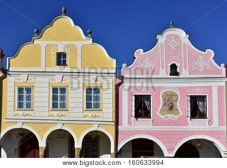 Main square in Telc with the famous 16th-century houses, Czech republic. Architectural scene. Unesco World Heritage Site. Building facades.