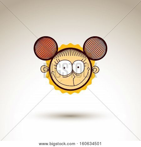 Vector artistic drawing of happy smiling girl with beautiful hairstyle social network design element isolated on white. Childish illustration emotions and human temperament concept.