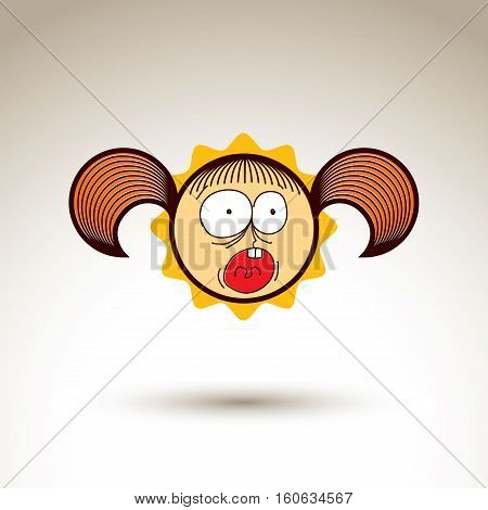 Vector artistic drawing of shouting girl with beautiful hairstyle social network design element isolated on white. Childish illustration emotions and human temperament concept.